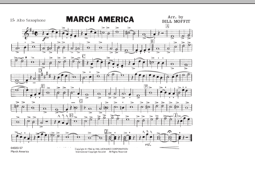 Bill Moffit March America - Eb Alto Saxophone sheet music notes and chords. Download Printable PDF.