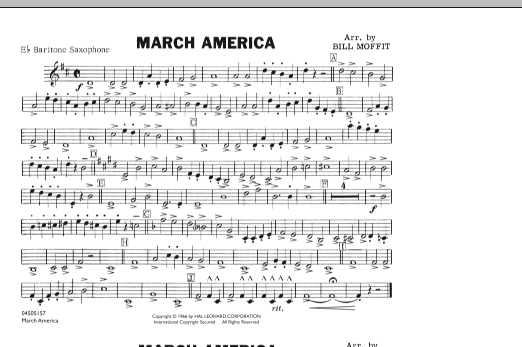 Bill Moffit March America - Eb Baritone Sax sheet music notes and chords. Download Printable PDF.