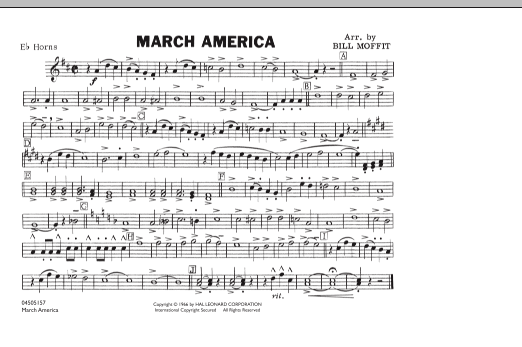 Bill Moffit March America - Eb Horn sheet music notes and chords. Download Printable PDF.
