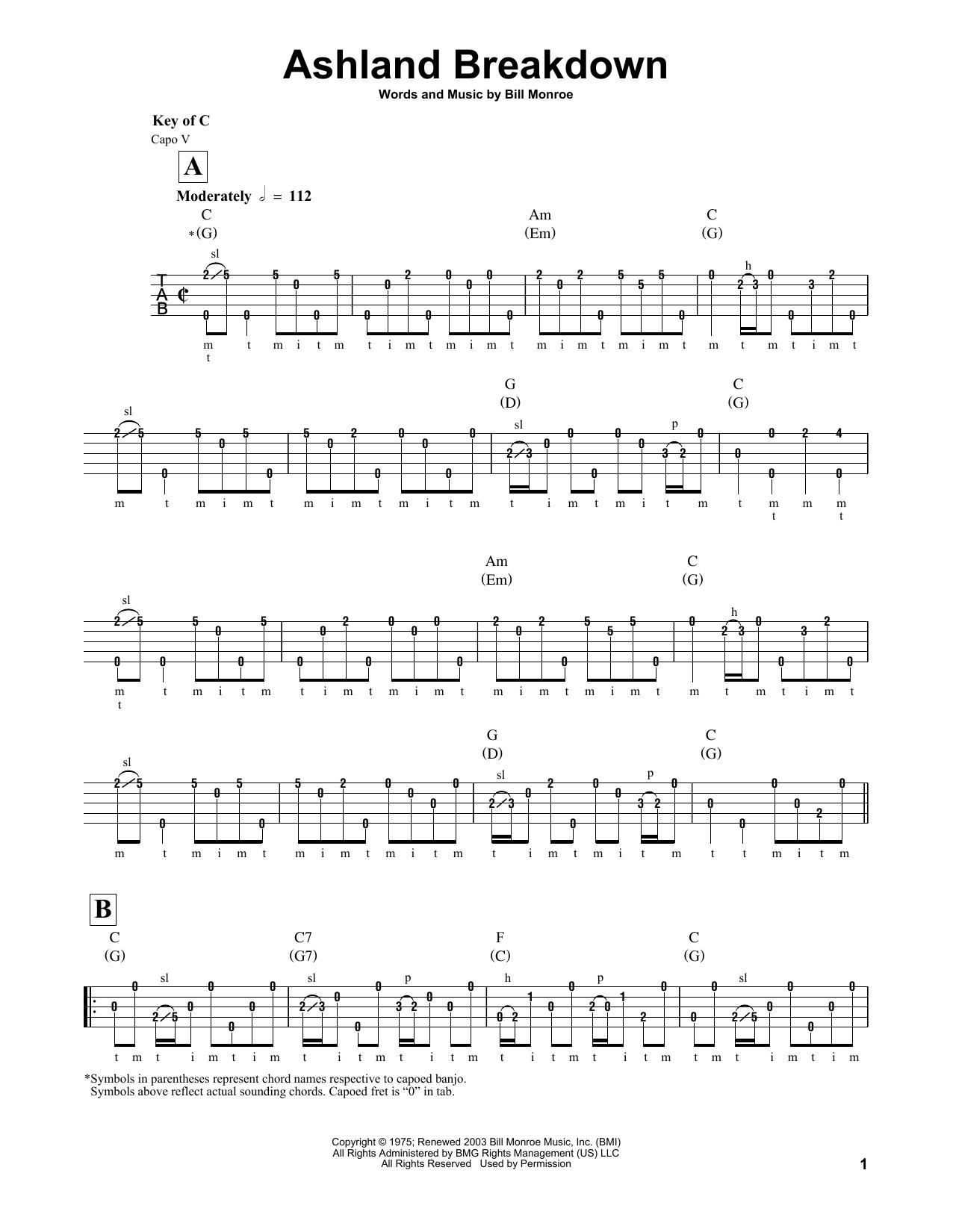 Bill Monroe Ashland Breakdown sheet music notes and chords. Download Printable PDF.