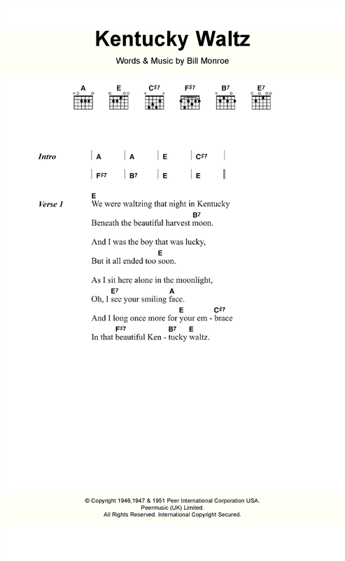 Bill Monroe Kentucky Waltz sheet music notes and chords. Download Printable PDF.