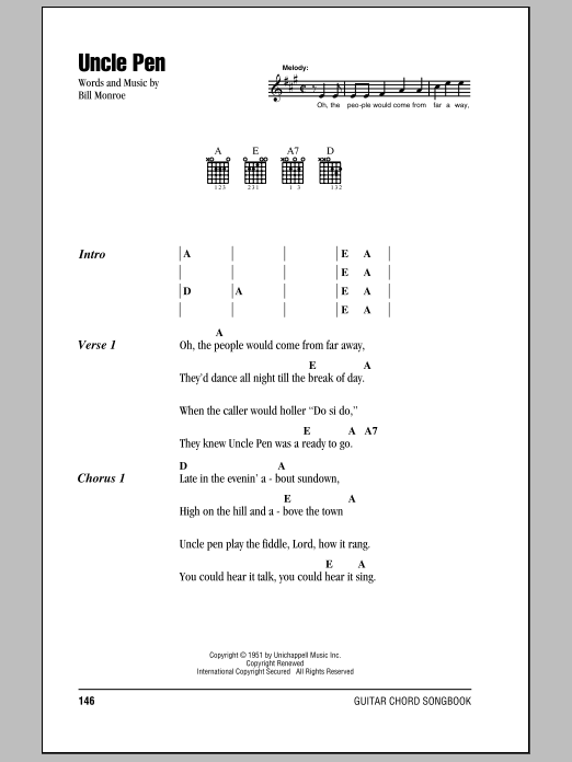 Bill Monroe Uncle Pen sheet music notes and chords. Download Printable PDF.