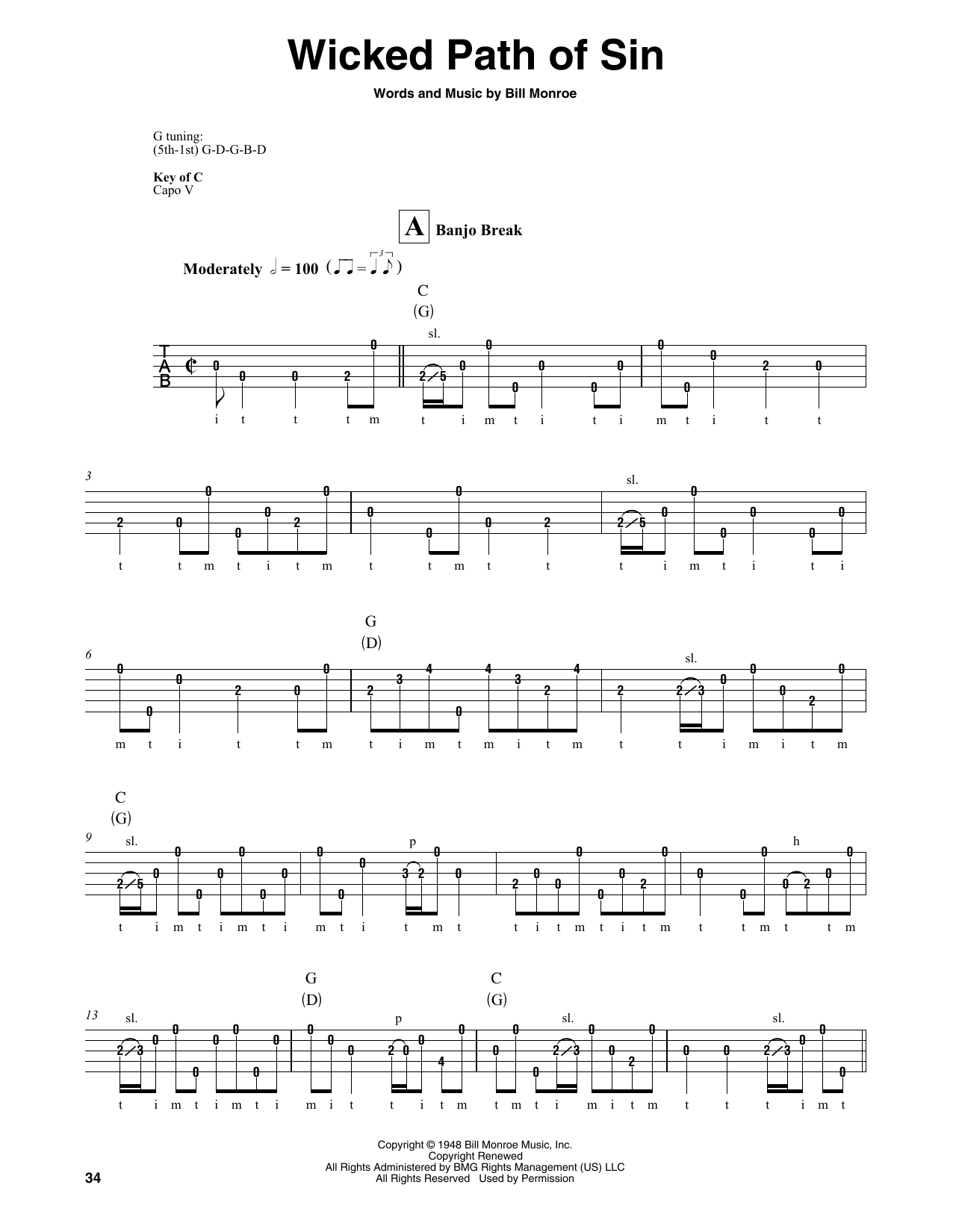 Bill Monroe Wicked Path Of Sin sheet music notes and chords. Download Printable PDF.