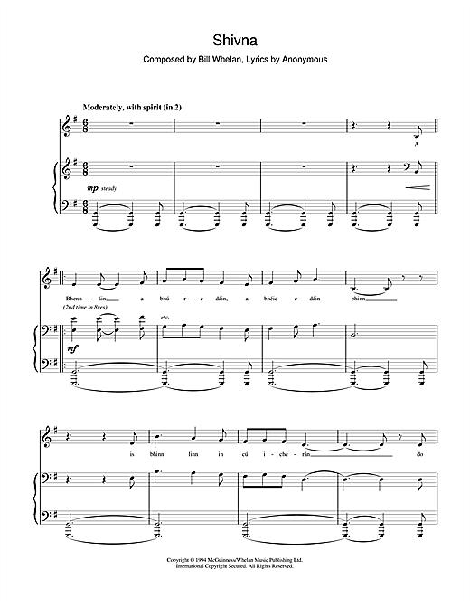 Bill Whelan Shivna (from Riverdance) sheet music notes and chords