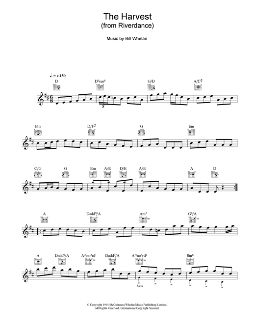 Bill Whelan The Harvest (from Riverdance) sheet music notes and chords. Download Printable PDF.