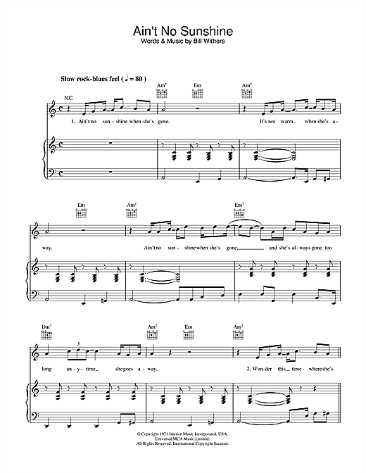 Bill Withers Ain T No Sunshine Sheet Music Pdf Notes Chords Rock Score Guitar Tab Single Guitar Download Printable Sku 82468 Wonder this time where she's gone wonder if she's gone to stay ain't no sunshine when she's gone and this house just ain't no home anytime she goes away. bill withers ain t no sunshine sheet music notes chords download printable guitar tab single guitar pdf score sku 82468