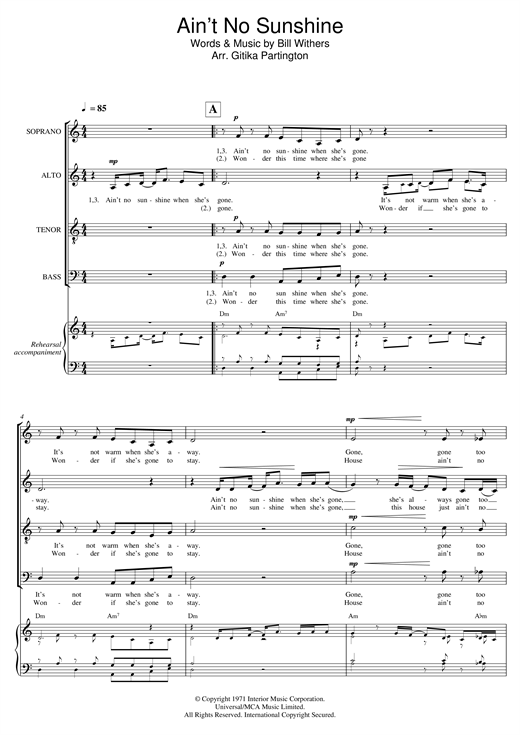 Bill Withers Ain T No Sunshine Arr Gitika Partington Sheet Music Pdf Notes Chords Soul Score Satb Choir Download Printable Sku 121351 This bill withers classic, ain't no sunshine when she's gone, is a great tune for beginners who are looking for practice with their minor chords. bill withers ain t no sunshine arr gitika partington sheet music notes chords download printable satb choir pdf score sku 121351