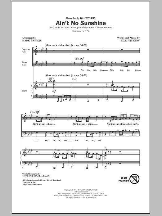 Mark Brymer Ain T No Sunshine Sheet Music Pdf Notes Chords Pop Score Sab Choir Download Printable Sku 290591 And this house just ain't no fhome, amanytime she goes away. mark brymer ain t no sunshine sheet music notes chords download printable sab choir pdf score sku 290591