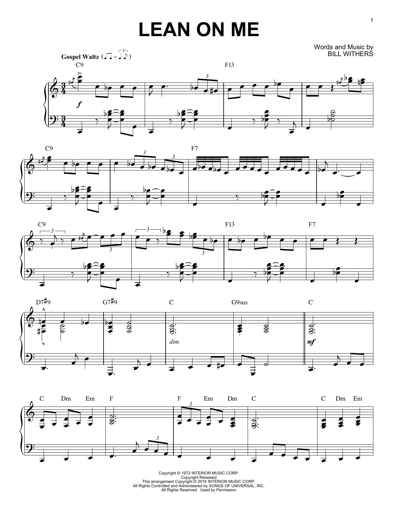 Bill Withers Lean On Me [Jazz version] (arr. Brent Edstrom) sheet music notes and chords. Download Printable PDF.
