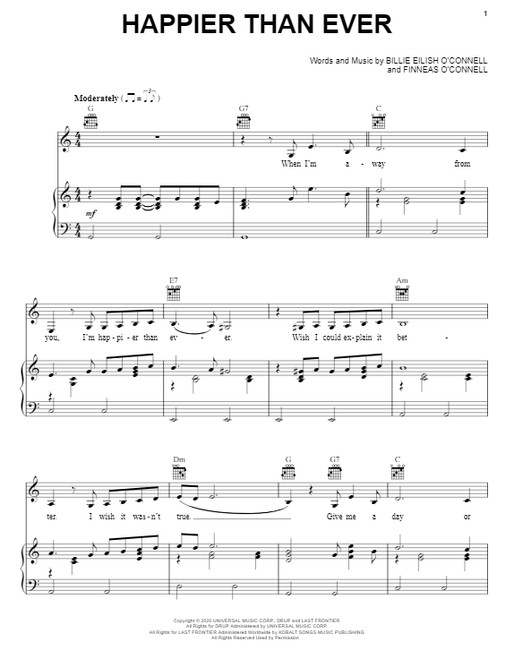 Billie Eilish Happier Than Ever sheet music notes and chords. Download Printable PDF.