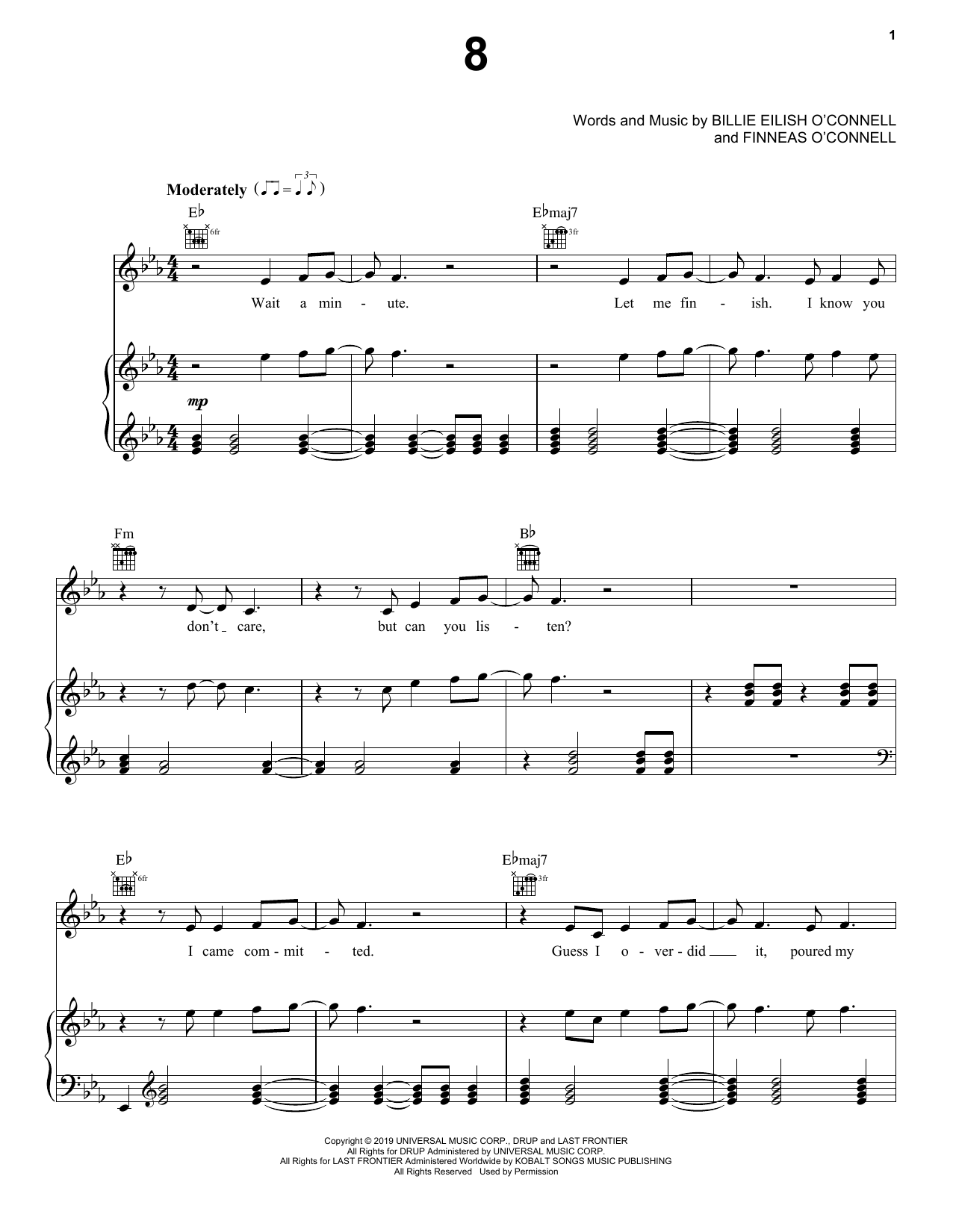 Billie Eilish 8 sheet music notes and chords. Download Printable PDF.