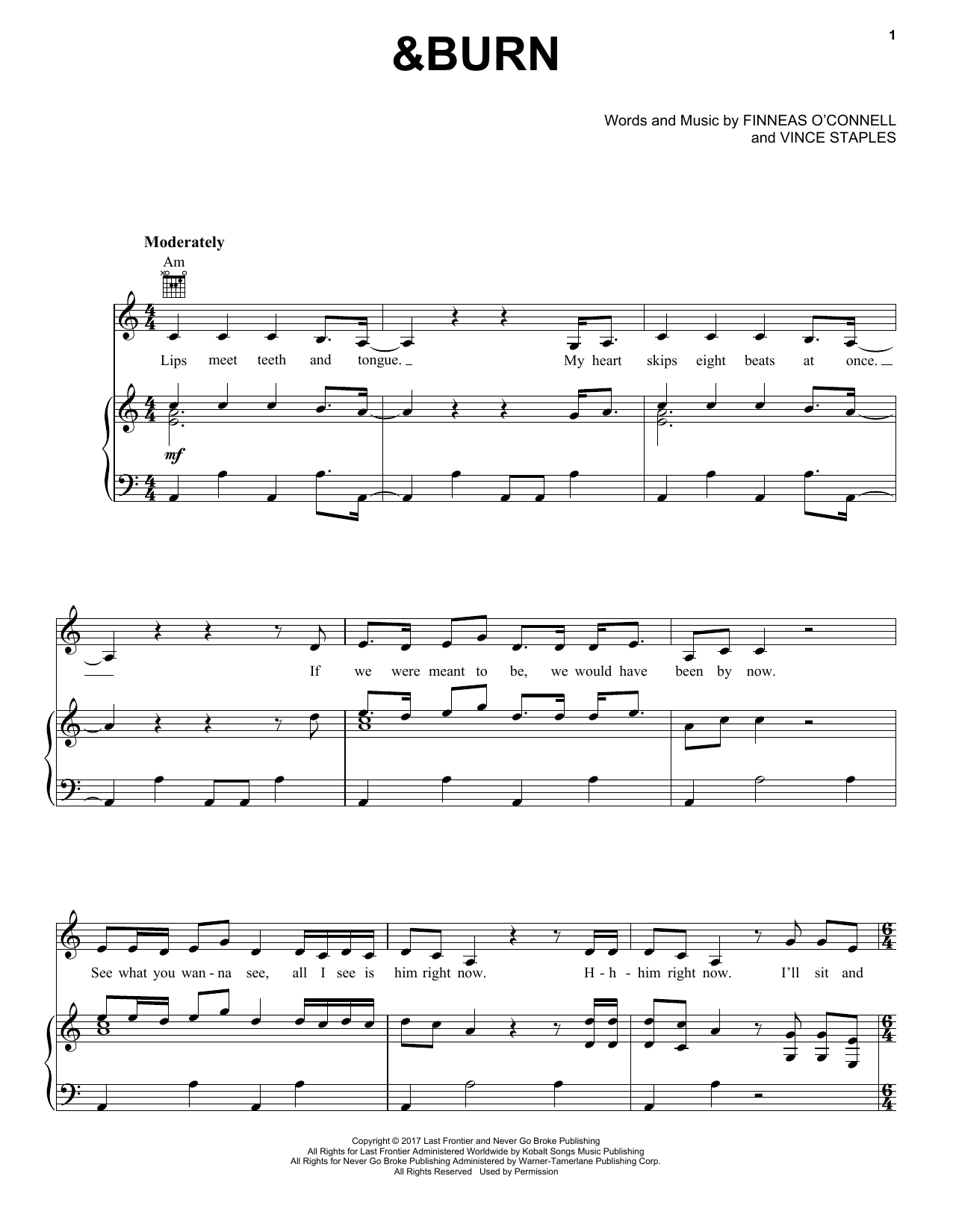 Billie Eilish &Burn sheet music notes and chords