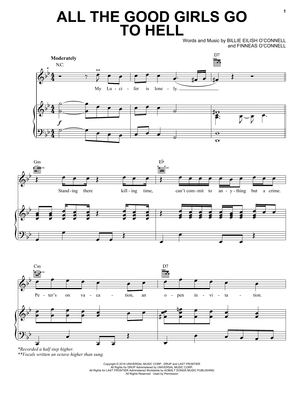 Billie Eilish All The Good Girls Go To Hell sheet music notes and chords