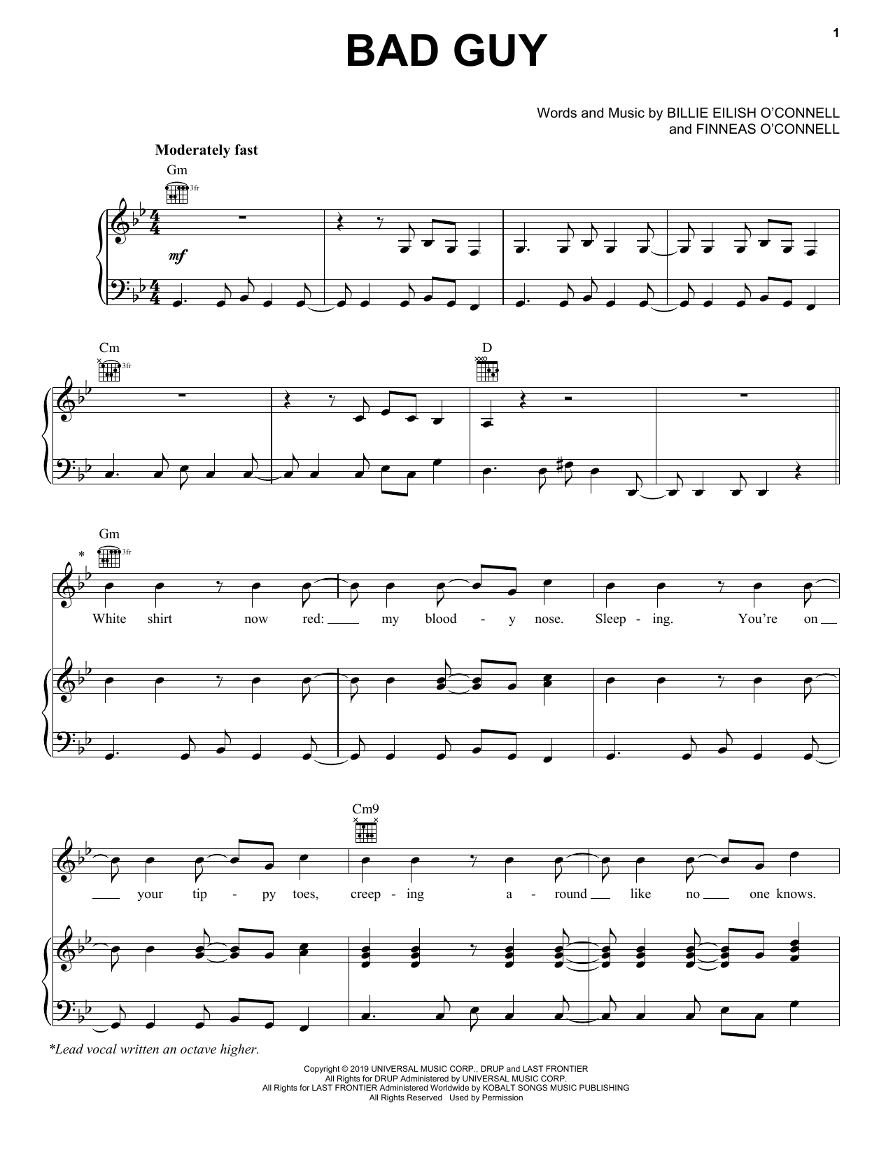 Billie Eilish Bad Guy sheet music notes and chords