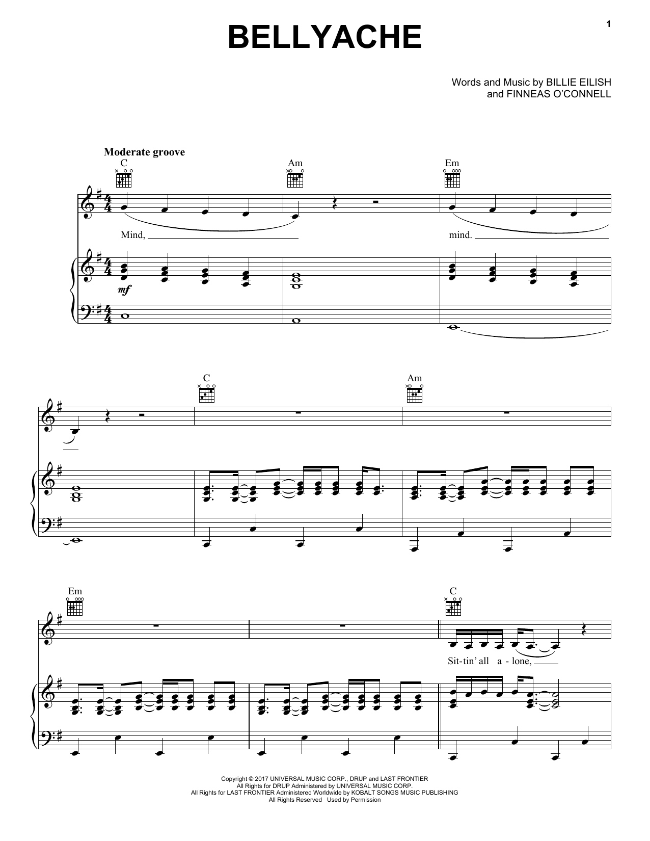 Billie Eilish Bellyache sheet music notes and chords