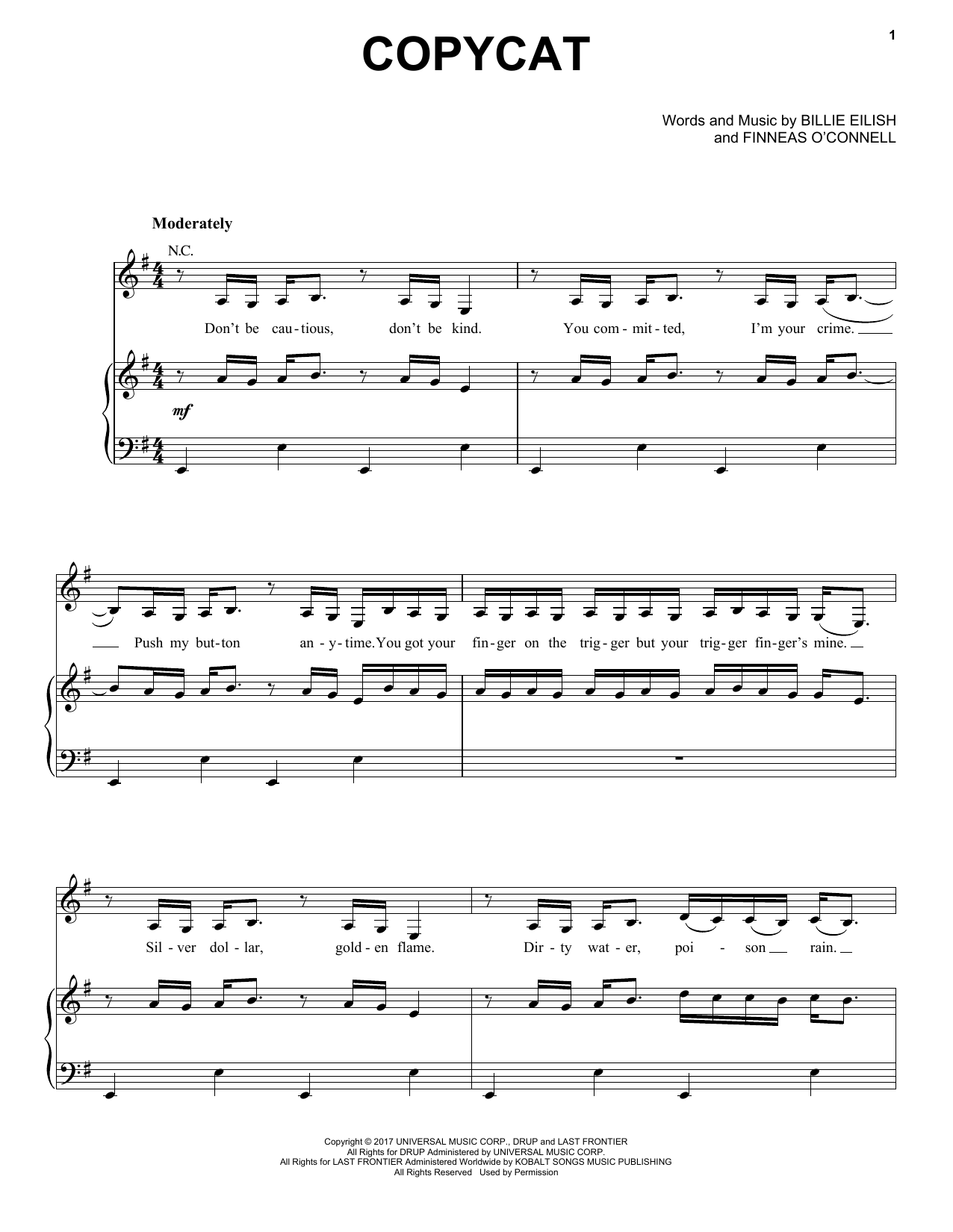 Billie Eilish COPYCAT sheet music notes and chords. Download Printable PDF.