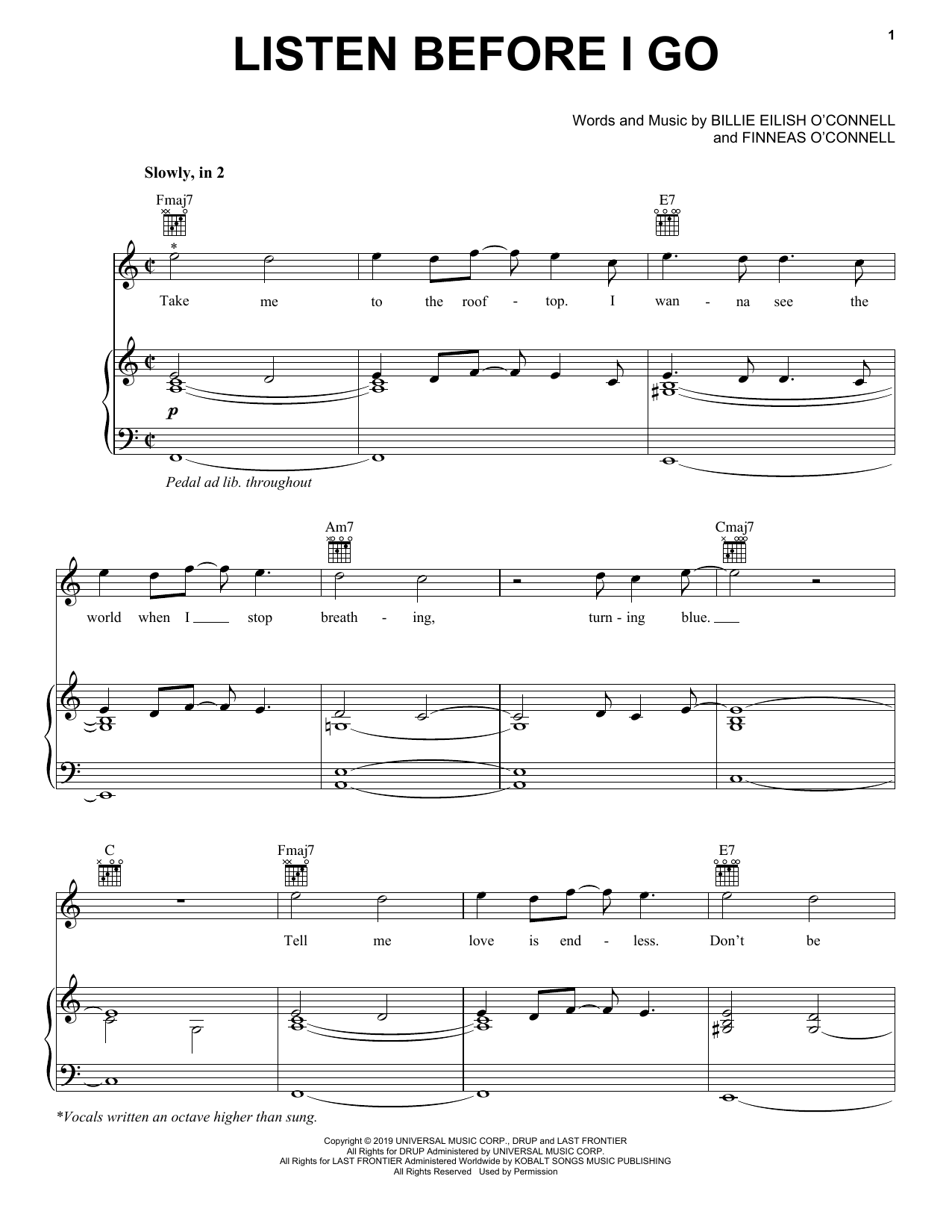 Billie Eilish listen before i go sheet music notes and chords. Download Printable PDF.