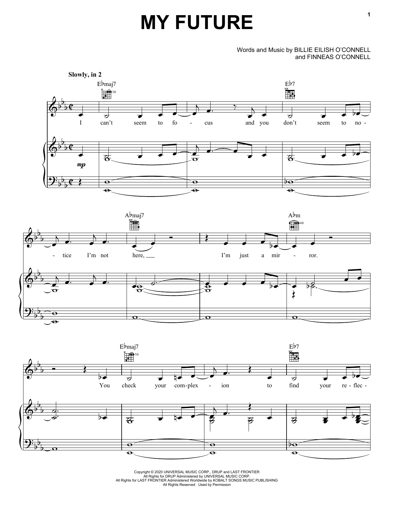 Billie Eilish my future sheet music notes and chords. Download Printable PDF.