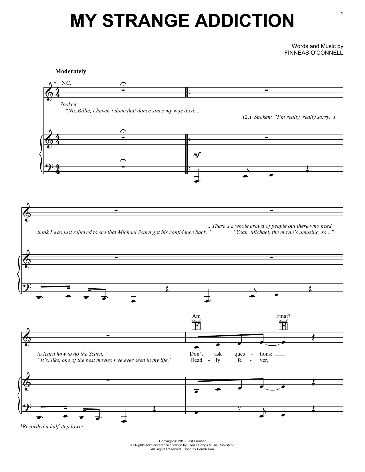 Billie Eilish my strange addiction sheet music notes and chords. Download Printable PDF.