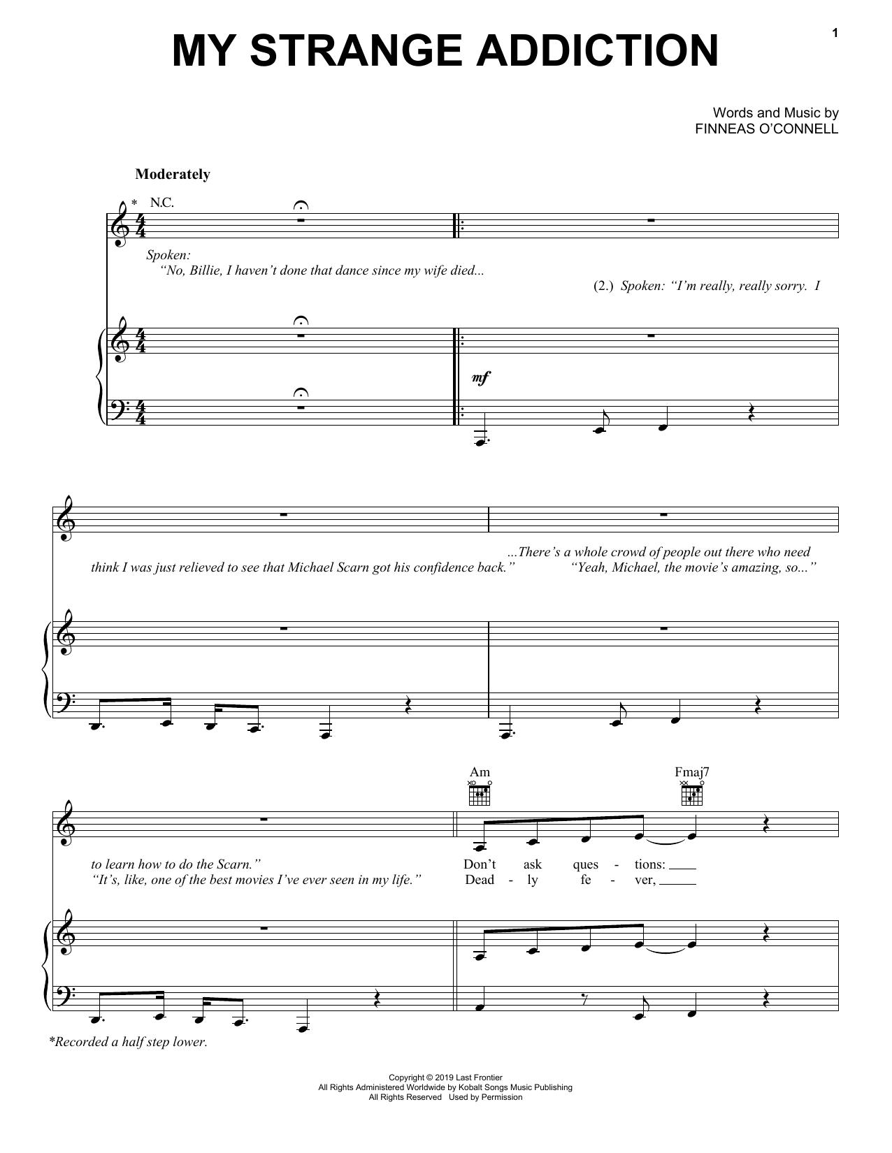 Billie Eilish My Strange Addiction sheet music notes and chords