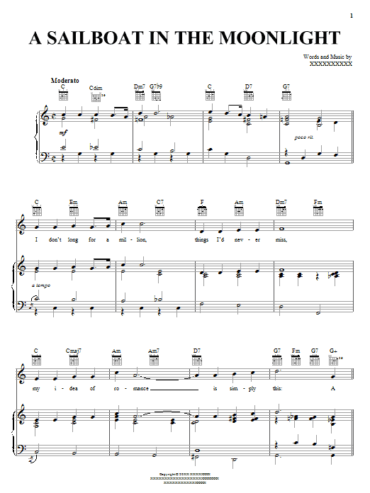 Billie Holiday A Sailboat In The Moonlight sheet music notes and chords