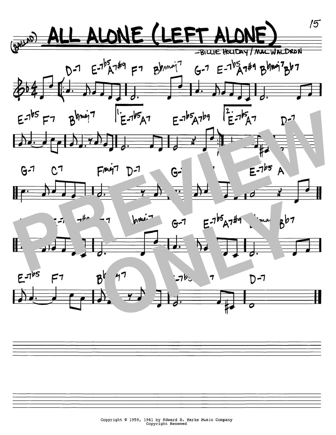 Billie Holiday All Alone (Left Alone) sheet music notes and chords. Download Printable PDF.