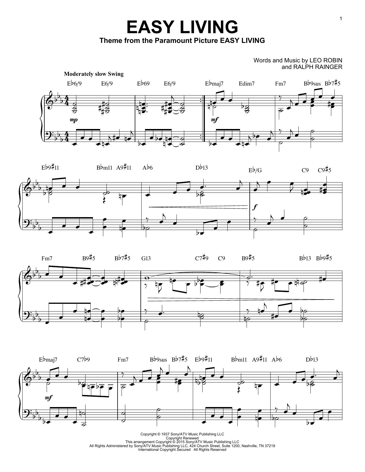Billie Holiday Easy Living [Jazz version] (arr. Brent Edstrom) sheet music notes and chords. Download Printable PDF.