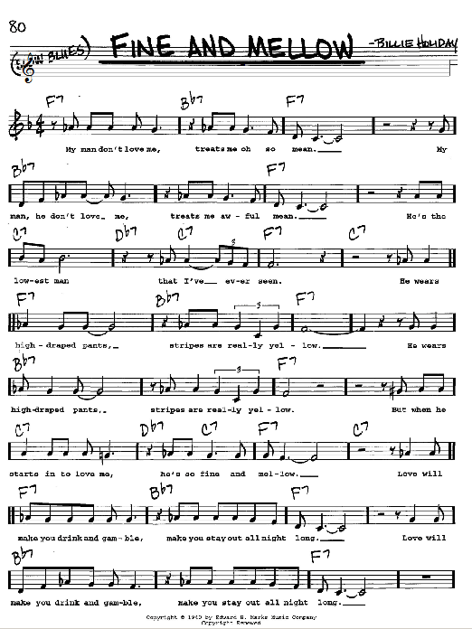 Billie Holiday Fine And Mellow sheet music notes and chords. Download Printable PDF.