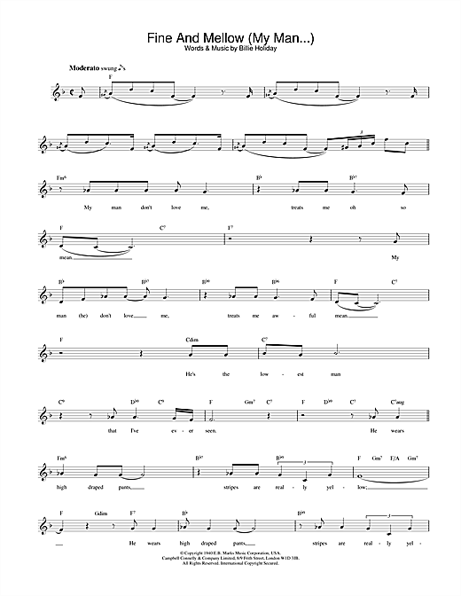 Billie Holiday Fine And Mellow (My Man...) sheet music notes and chords. Download Printable PDF.