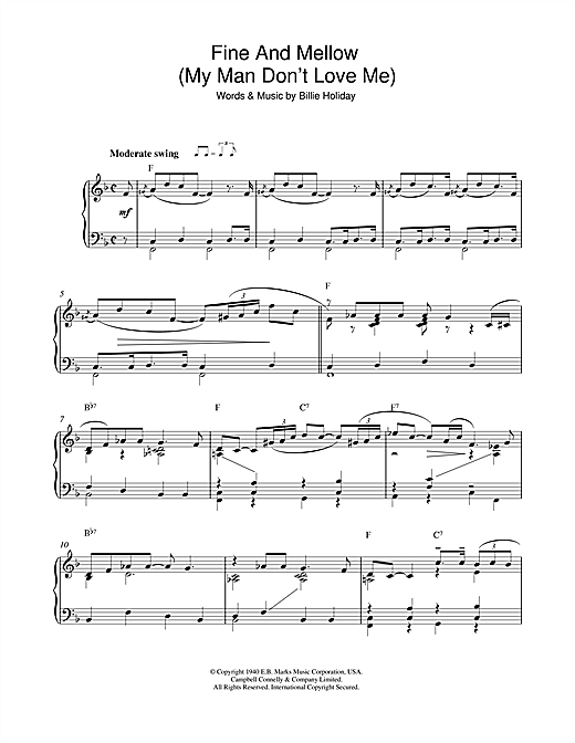 Billie Holiday Fine And Mellow (My Man Don't Love Me) sheet music notes and chords. Download Printable PDF.