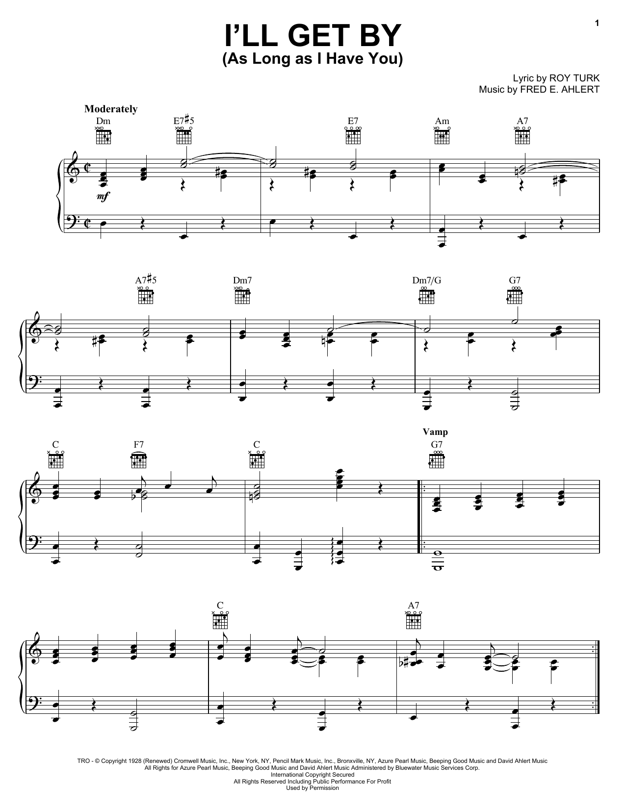 Billie Holiday I'll Get By (As Long As I Have You) sheet music notes and chords. Download Printable PDF.