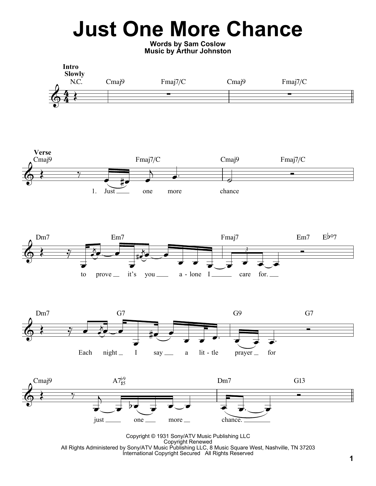 Billie Holiday Just One More Chance sheet music notes and chords