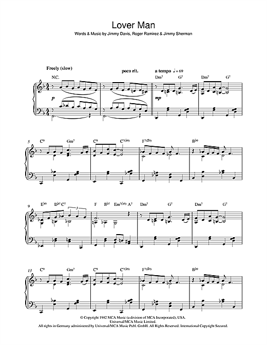 Billie Holiday Lover Man (Oh, Where Can You Be) sheet music notes and chords