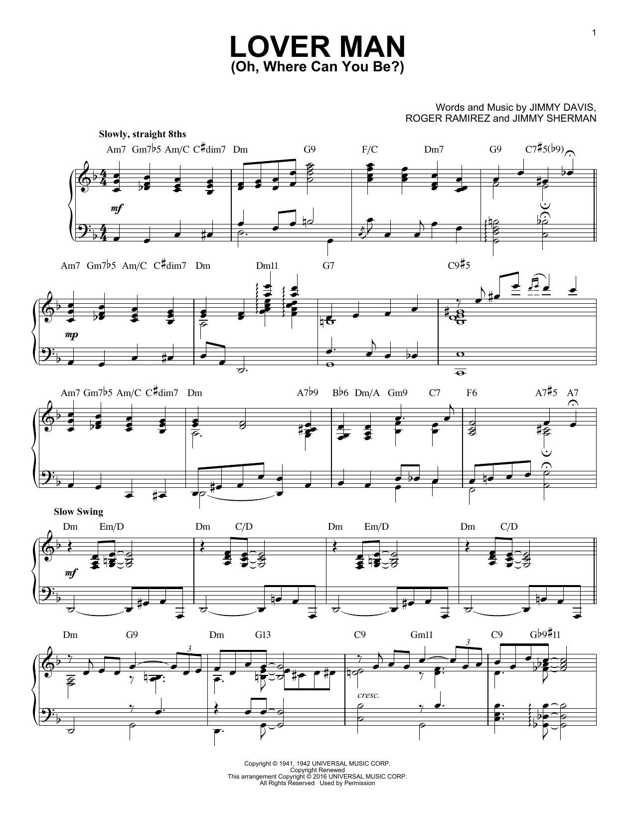 Billie Holiday Lover Man (Oh, Where Can You Be?) (arr. Brent Edstrom) sheet music notes and chords. Download Printable PDF.