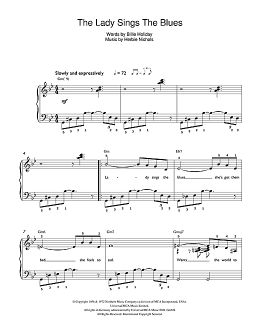 Billie Holiday The Lady Sings The Blues sheet music notes and chords. Download Printable PDF.
