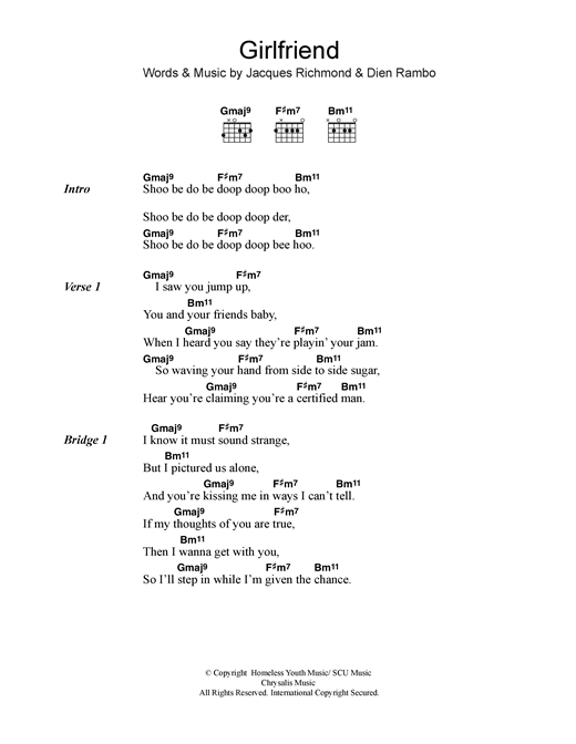 Billie Piper Girlfriend sheet music notes and chords. Download Printable PDF.