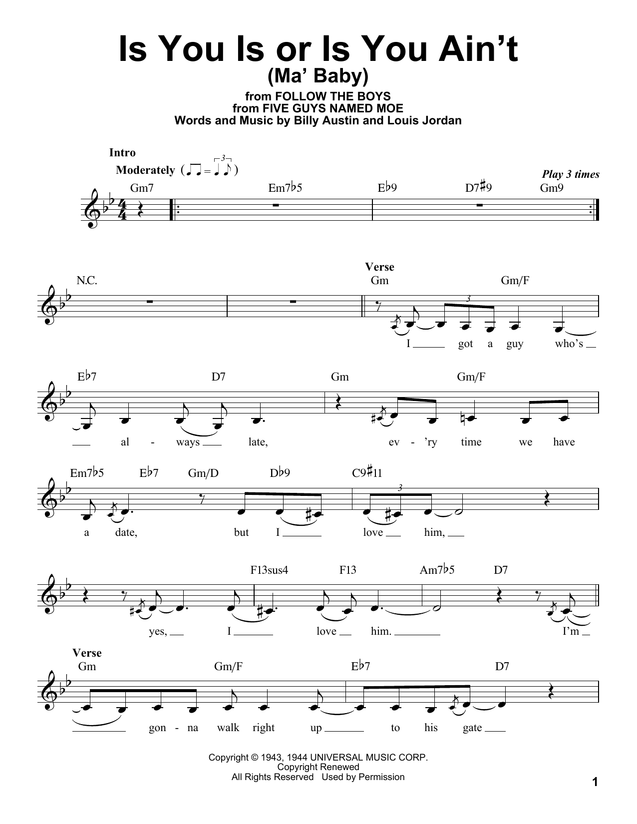 Billy Austin Is You Is, Or Is You Ain't (Ma' Baby) sheet music notes and chords. Download Printable PDF.