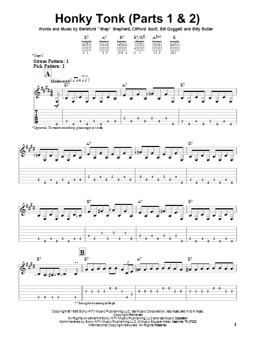 Billy Butler Honky Tonk (Parts 1 & 2) sheet music notes and chords. Download Printable PDF.