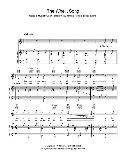 Billy Cotton The Whelk Song sheet music notes and chords. Download Printable PDF.