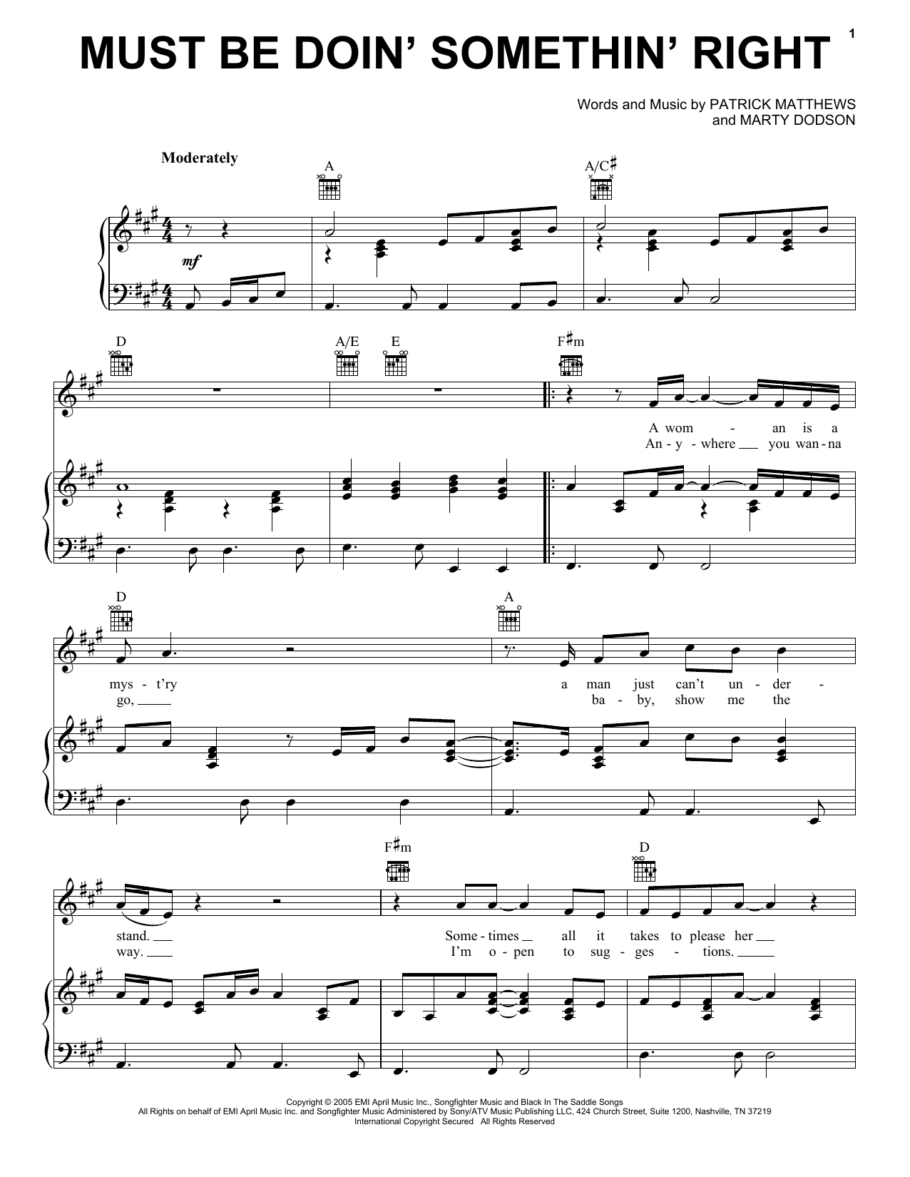 Billy Currington Must Be Doin' Somethin' Right sheet music notes and chords. Download Printable PDF.