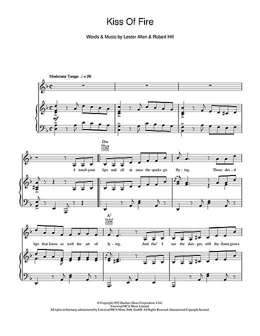 Billy Eckstine Kiss Of Fire sheet music notes and chords. Download Printable PDF.