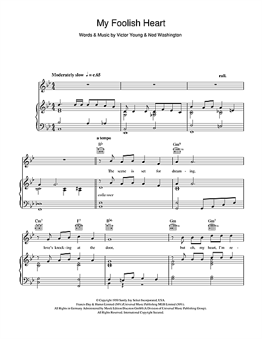Billy Eckstine My Foolish Heart sheet music notes and chords. Download Printable PDF.