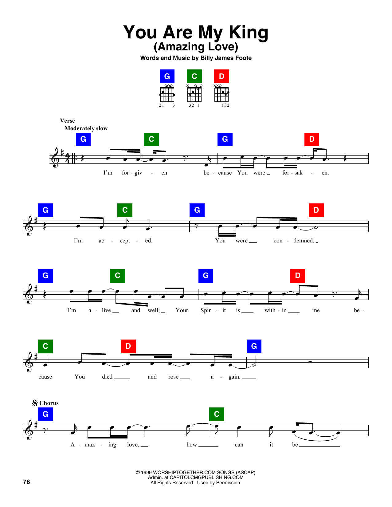 Billy Foote You Are My King (Amazing Love) sheet music notes and chords. Download Printable PDF.