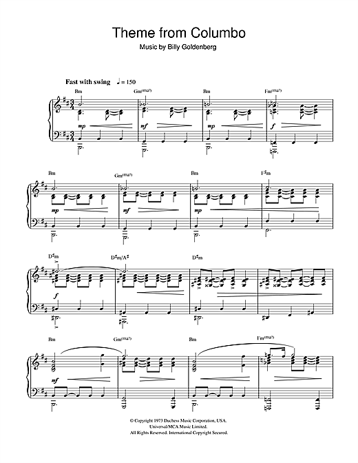 Billy Goldenberg Theme from Columbo sheet music notes and chords. Download Printable PDF.