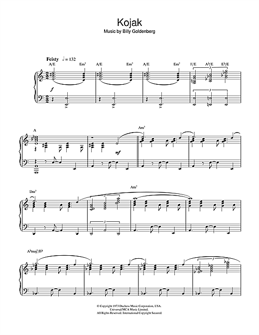 Billy Goldenberg Theme from Kojak sheet music notes and chords