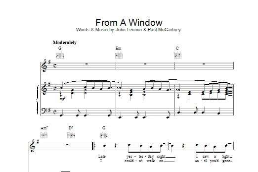The Beatles From A Window sheet music notes and chords. Download Printable PDF.