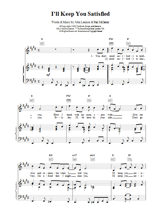 The Beatles I'll Keep You Satisfied sheet music notes and chords. Download Printable PDF.