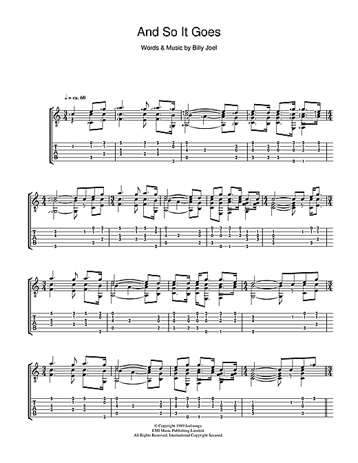 Billy Joel And So It Goes sheet music notes and chords