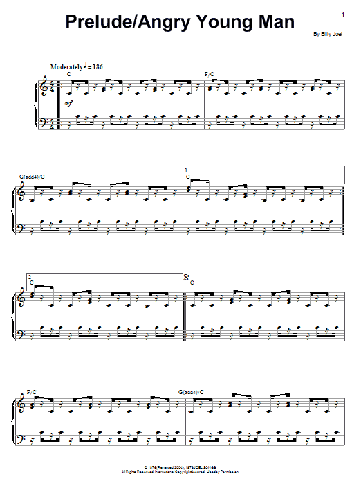 Billy Joel Angry Young Man sheet music notes and chords. Download Printable PDF.