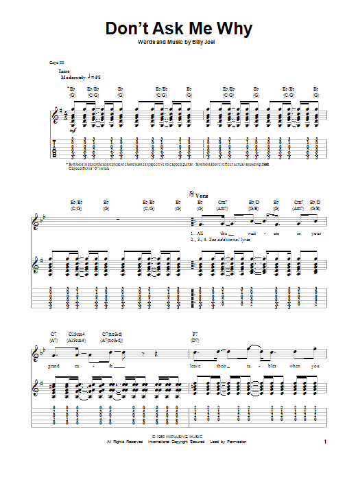 Billy Joel Don't Ask Me Why sheet music notes and chords. Download Printable PDF.
